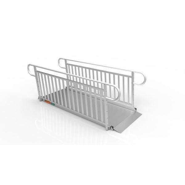 GATEWAY 3G 8 ft. Aluminum Solid Surface Wheelchair Ramp with Vertical Picket Handrails