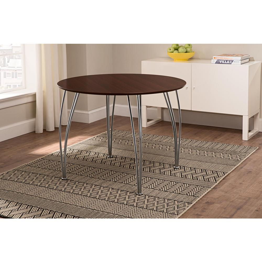 Brentwood 39.5 in. Round Espresso Dining Table with Chrome Legs