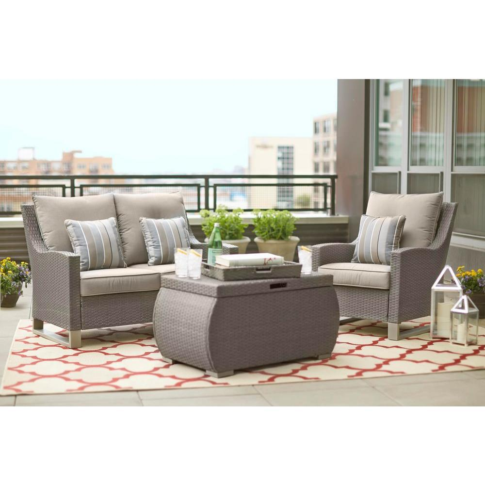 Broadview 4-Piece Gray Resin Wicker Patio Seating Set with Sunbrella Spectrum