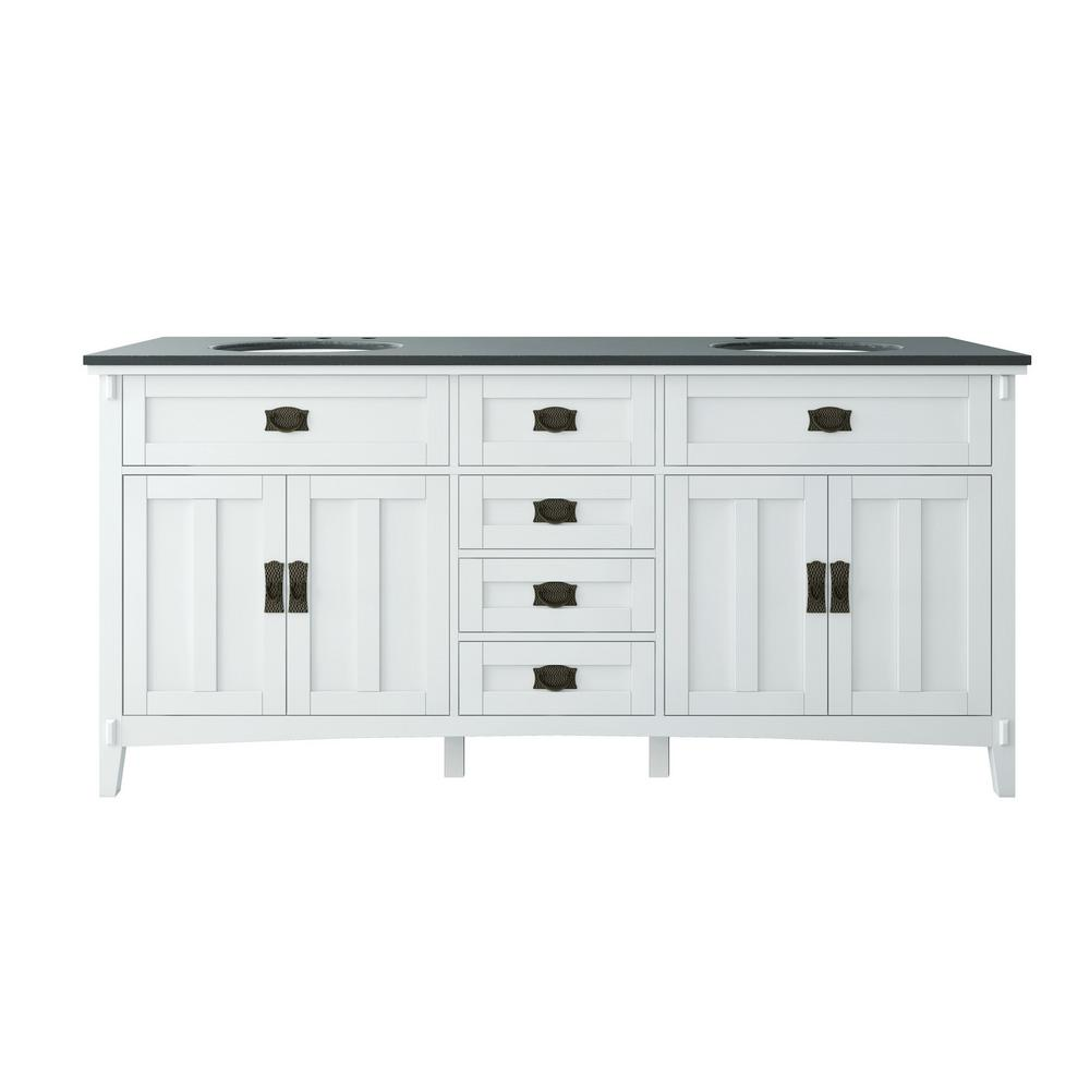Home Decorators Collection Artisan 72 in. W Vanity in White with Marble Vanity Top in Natural Black with White Sink