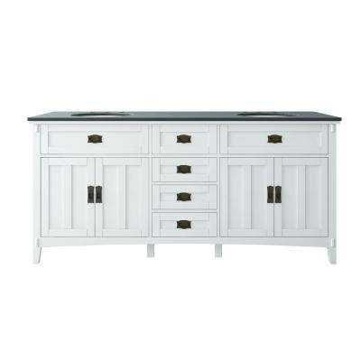 Artisan 72 in. W Vanity in White with Marble Vanity Top in Natural Black with White Sink