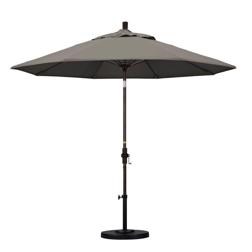 9 ft. Fiberglass Collar Tilt Patio Umbrella in Taupe Pacifica