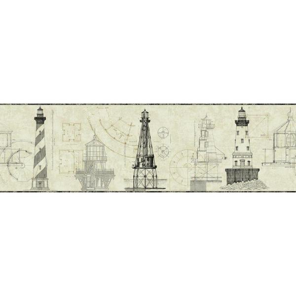 York Wallcoverings American Classics Architectural Lighthouse Wallpaper Border