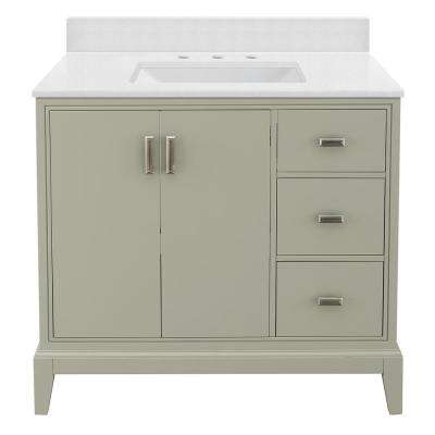 Shaelyn 37 in. W x 22 in. D Vanity in Sage Green RH with Engineered Vanity Top in Snowstorm with White Sink