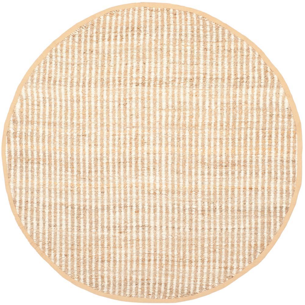 Natural Fiber Beige/Ivory 4 ft. x 4 ft. Round Area Rug