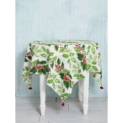 48 in. x 48 in. Jolly Holly Off White Tablecloth