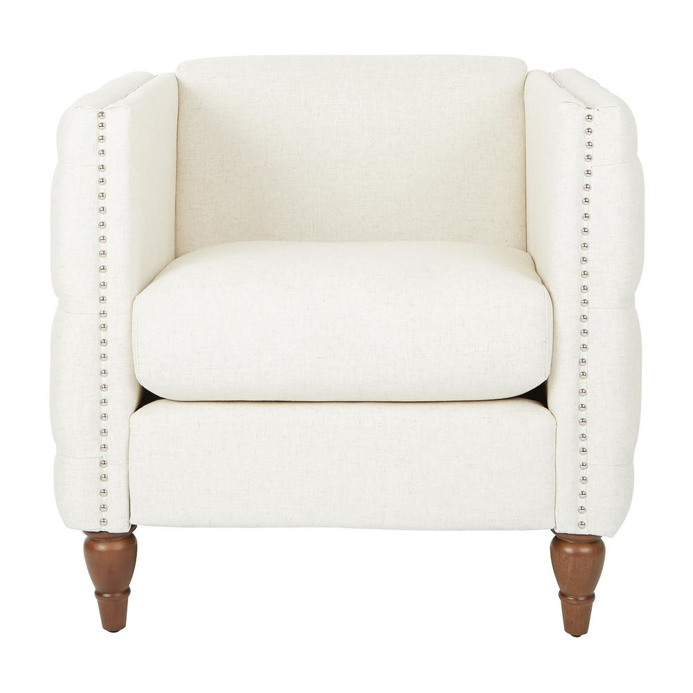 Evie Linen Fabric Tufted Chair with Coffee Legs