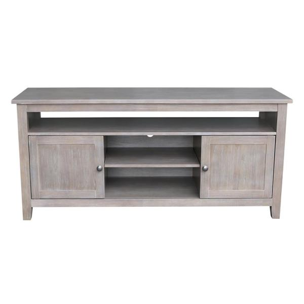 International Concepts 57 in. Weathered Taupe Gray Wood TV Stand Fits TVs Up to 60 in. with Storage Doors