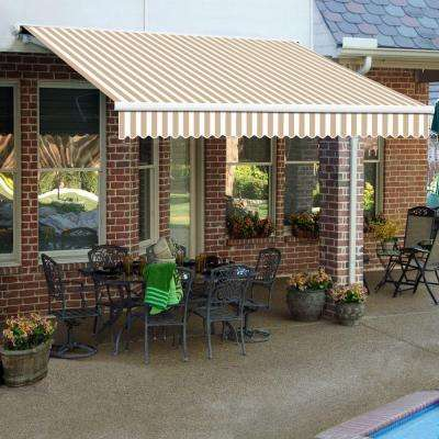 18 ft. Galveston Semi-Cassette Right Motor Retractable Awning with Remote (120 in. Projection) in Linen/White