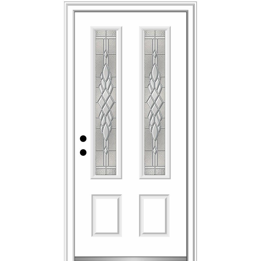 36 in. x 80 in. Grace Right-Hand Inswing 2-Lite Decorative Primed Fiberglass Prehung Front Door, 4-9/16 in. Frame