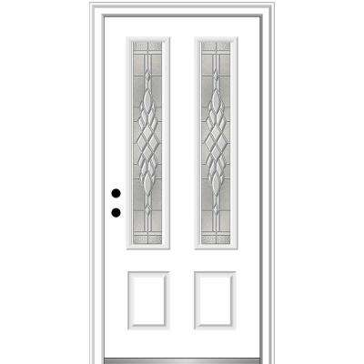 36 in. x 80 in. Grace Right-Hand Inswing 2-Lite Decorative Primed Fiberglass Prehung Front Door on 6-9/16 in. Frame