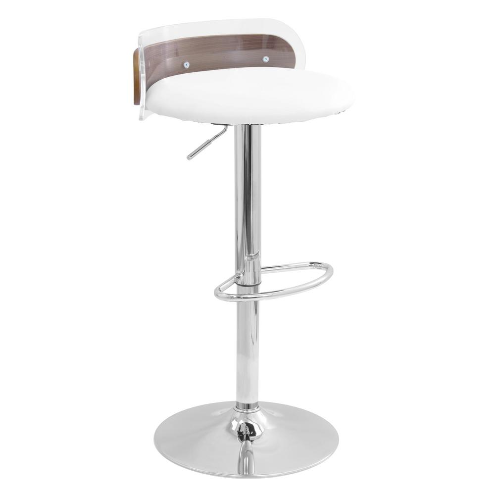 Lumisource arc walnut wood and clear adjustable height bar stool in white faux leather acrylic backrest