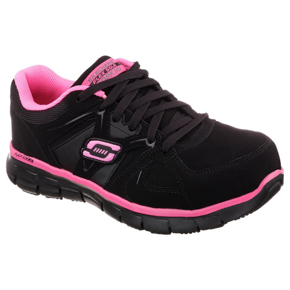 Skechers Women's Synergy Sandlot Slip Resistant Athletic Shoes Alloy Toe BlackPink Size 5.5(M)