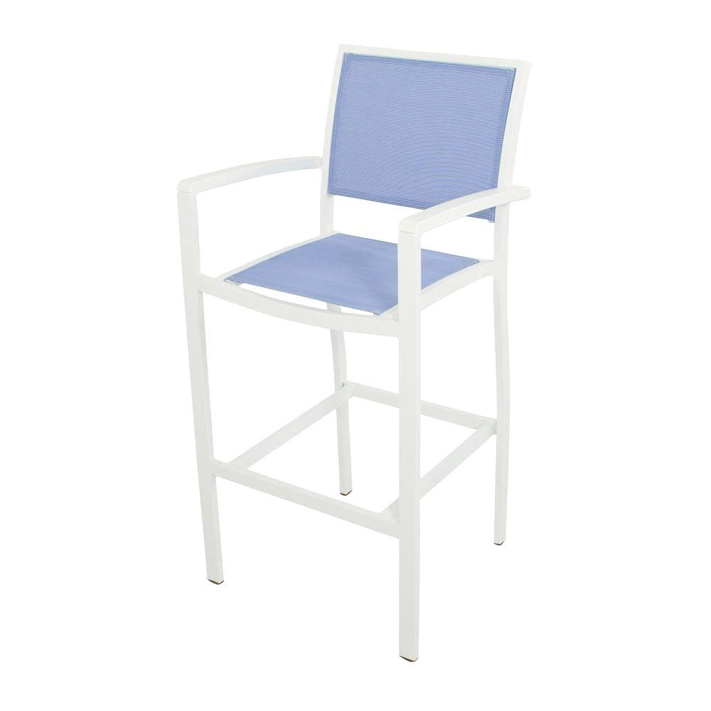 Bayline Satin White All-Weather Aluminum/Plastic Outdoor Bar Arm Chair in
