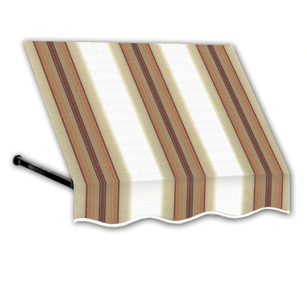 AWNTECH 12 ft. Dallas Retro Window/Entry Awning (56 in. H x 48 in. D) in White/Linen/Terra cotta Stripe