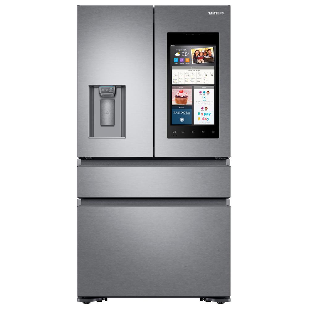 22.2 cu. ft. Family Hub 4-Door French Door Refrigerator with Recessed Handle in Stainless Steel, Counter Depth