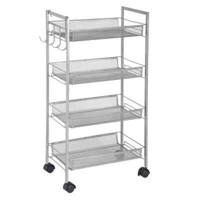 4-Tier Steel 4-Wheeled Mobile Storage Cart with Side Hooks in Silver