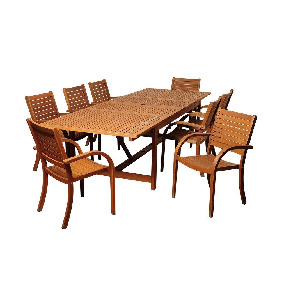 Amazonia dylan rectangular 9 piece eucalyptus extendable for Jardin 8 piece dining set