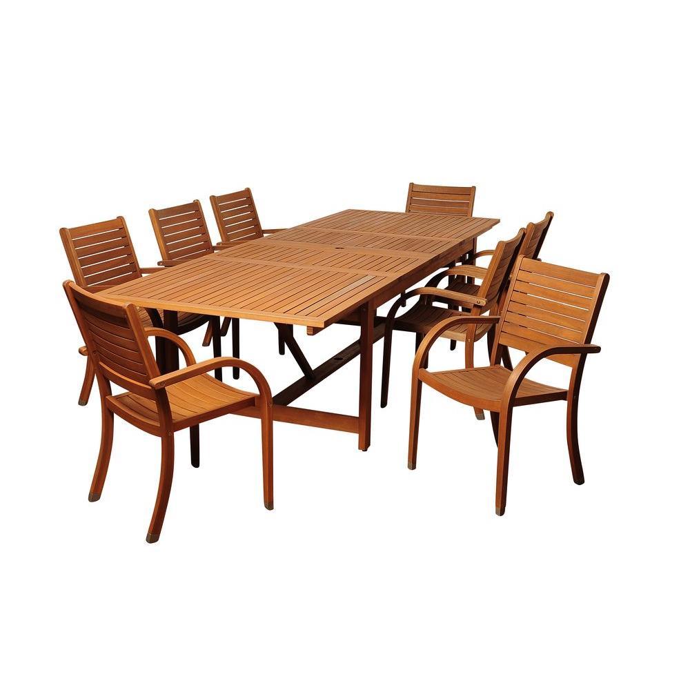 Dylan Rectangular 9-Piece Eucalyptus Extendable Patio Dining Set