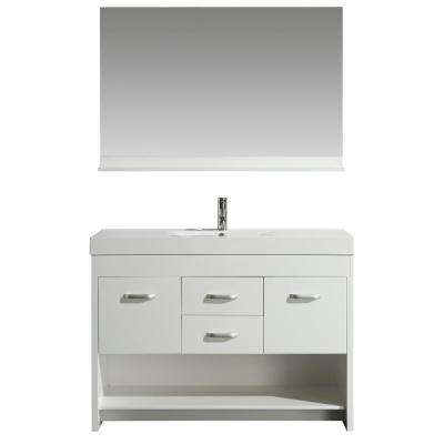 Citrus 48 in. W x 18 in. D Bath Vanity in White with Acrylic Vanity Top in White with White Basin and Mirror