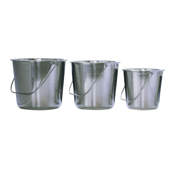 Amerihome Assorted Stainless Steel Bucket Set 3 Piece 802023 The Home Depot