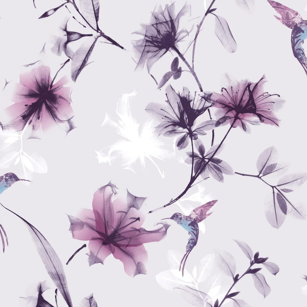 Graham Brown X Ray Floral Purple And Pink Removable Wallpaper