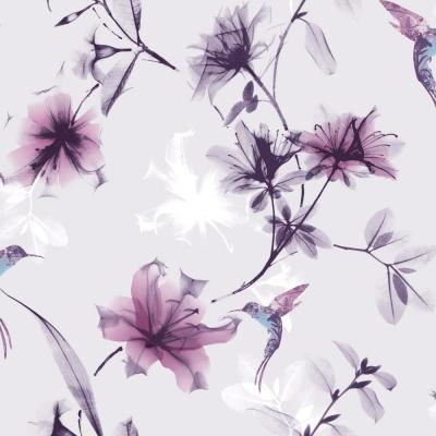 X-Ray Floral Purple and Pink Removable Wallpaper