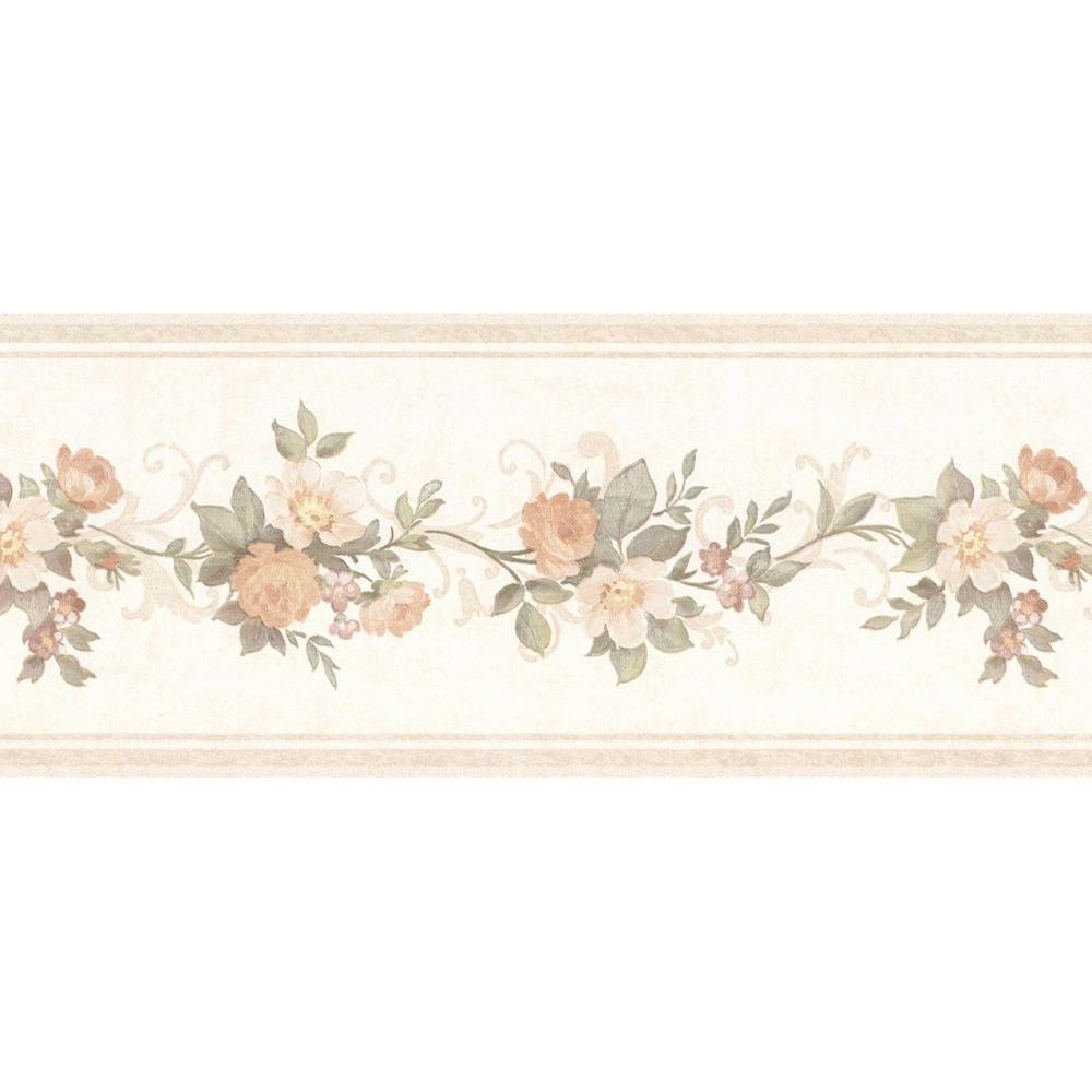 Lory Peach Floral Wallpaper Border
