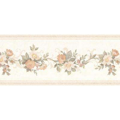 Lory Peach Floral Wallpaper Border Sample