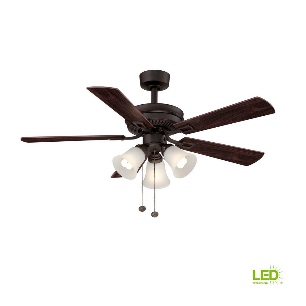 Hampton Bay Sinclair 44 In Indoor Oil Rubbed Bronze Ceiling Fan With Light Kit