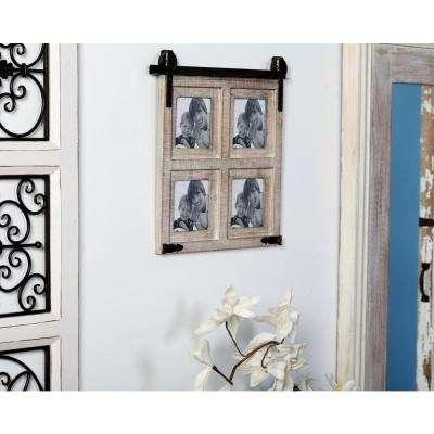 18 in. x 18 in. Brown Wall Picture Frame with Iron Brackets and Top Wall Hangs