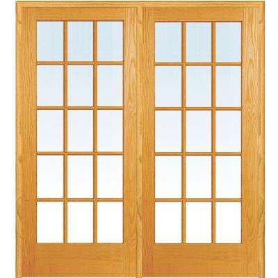 72 in. x 80 in. Left Hand Active Unfinished Pine Glass 15-Lite Clear True Divided Prehung Interior French Door