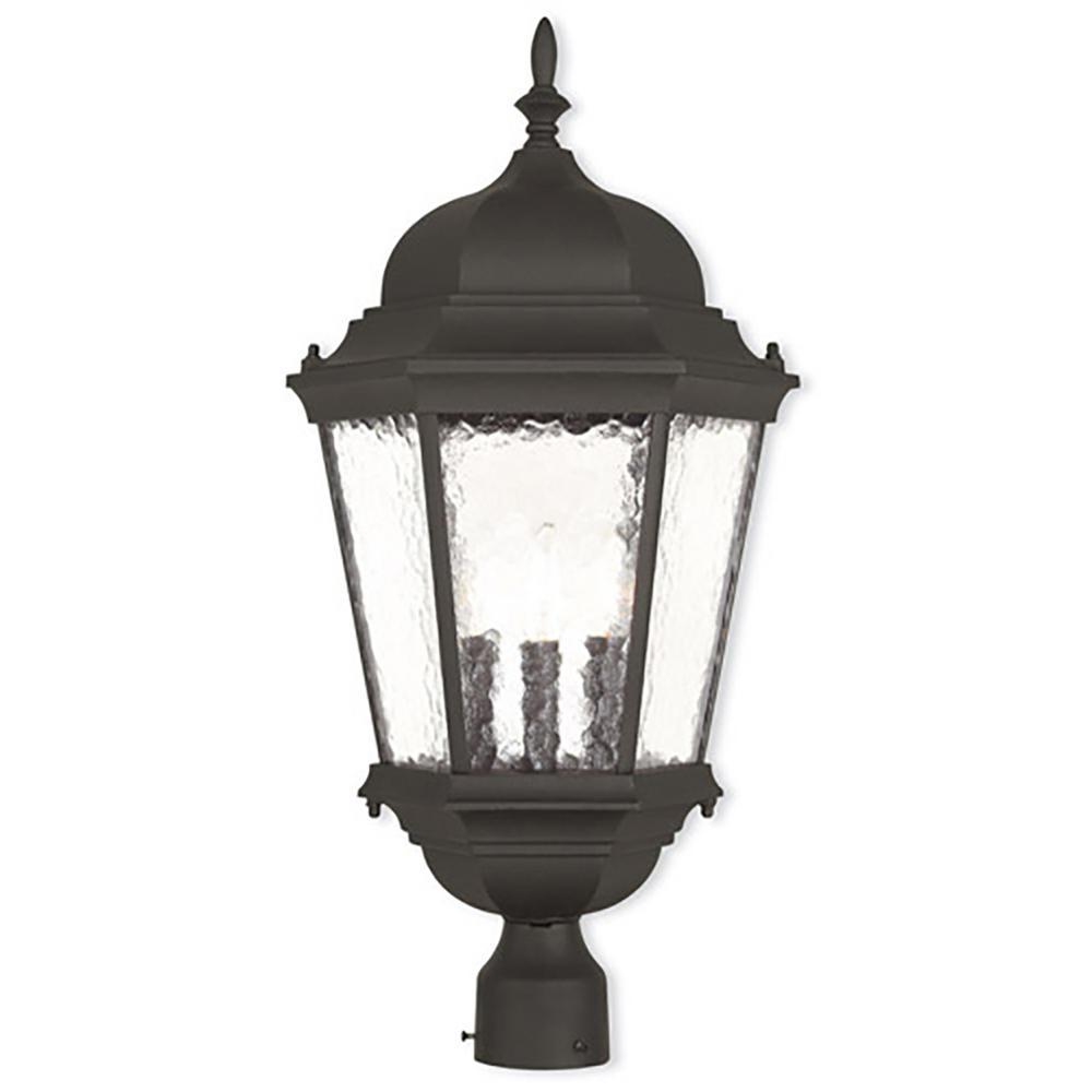 LIVEX Hamilton 3-Light Outdoor Textured Black Post Light