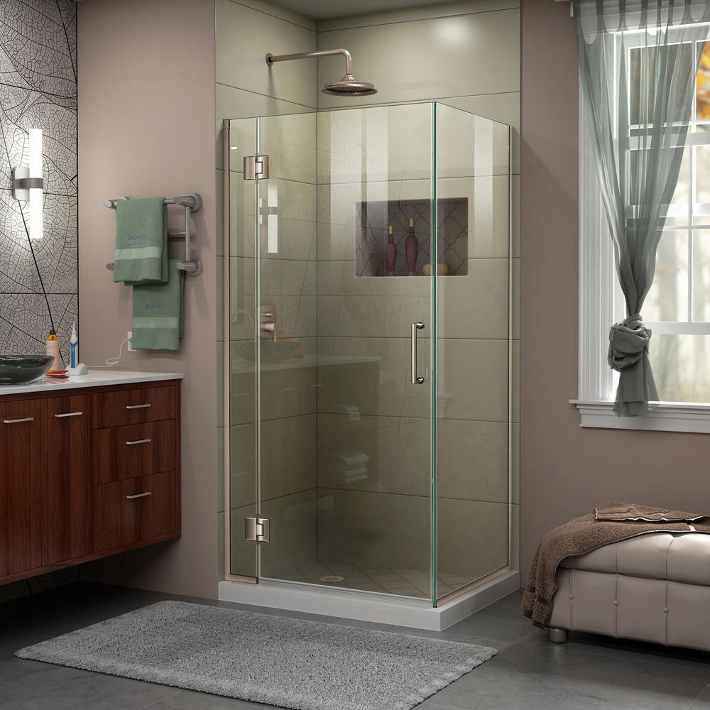 Spring Showers Bring Wet Basements: DreamLine Unidoor-X 34 In. X 34-3/8 X 72 In. Frameless Hinged Corner Shower Enclosure In Brushed