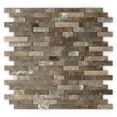 Bengal Brown 11.77 in. x 11.57 in. x 8 mm Stone Self-Adhesive Wall Mosaic Tile