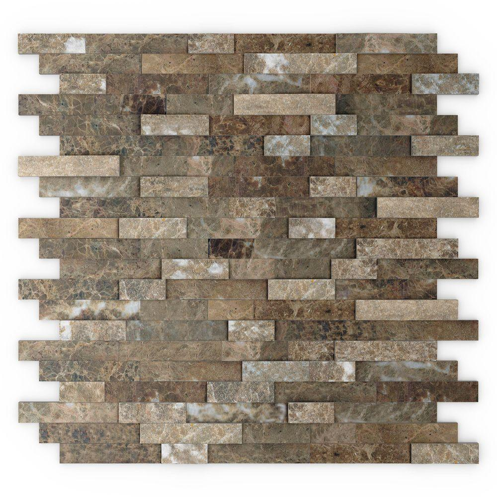 Inoxia SpeedTiles Bengal Brown 11.77 in. x 11.57 in. x 8 mm Stone Self-Adhesive Wall Mosaic Tile