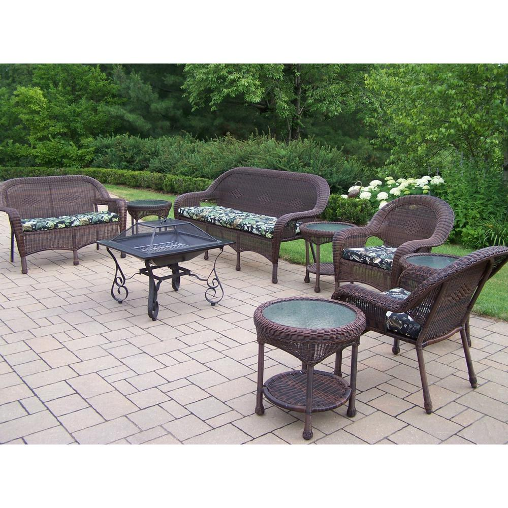 9-Piece Wicker Seating Set 33 in. Square Fire Pit, 4 Side