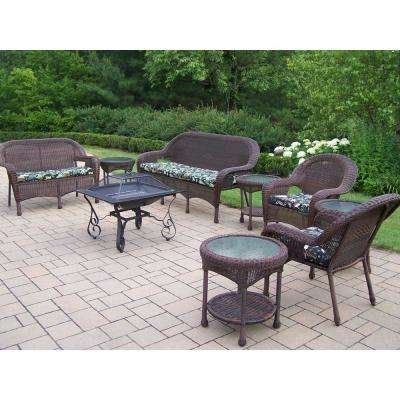 9-Piece Wicker Seating Set 33 in. Square Fire Pit, 4 Side Tables, Cushioned Sofa, Loveseat and 2 Chairs