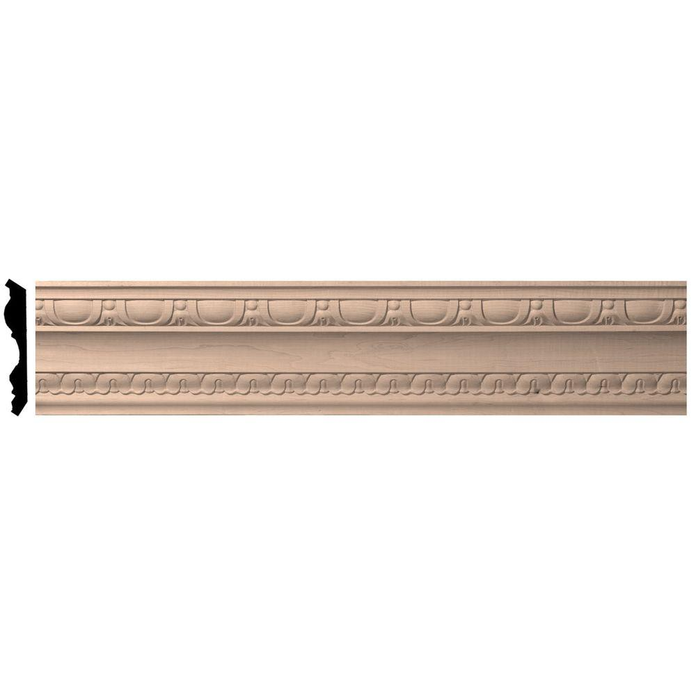 Ekena Millwork 4 in. x 96 in. x 5-1/2 in. Unfinished Alder Bedford Carved Wood Crown Moulding