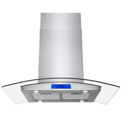 36 in. 343 CFM Convertible Island Mount Range Hood in Stainless Steel with LEDs and Touch Panel