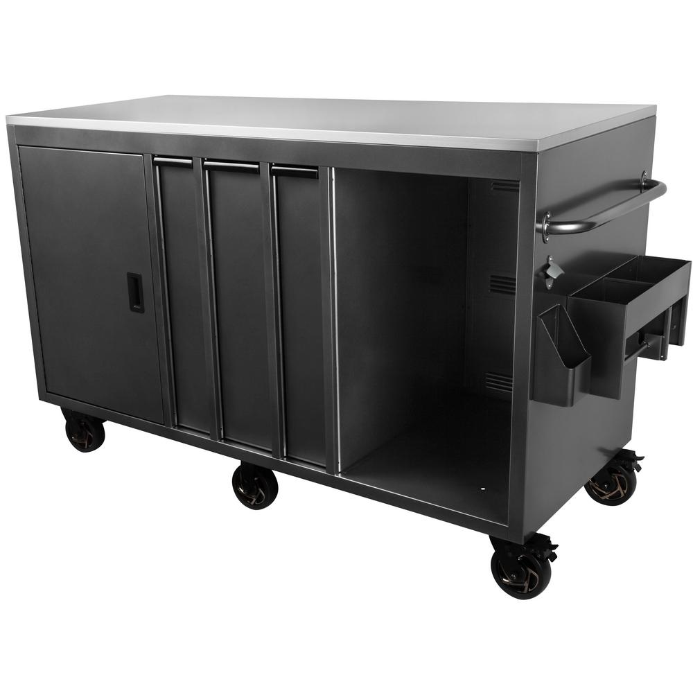 International Silver 72 in. W x 46.5 in. H x 30.2 in. D Mobile Outdoor  Kitchen Cabinet with 3-Drawes and Stainless Steel Top Surface