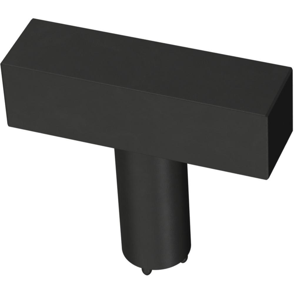 Square Bar 1-1/2 in. (32 mm) Matte Black Cabinet Knob (12-Pack)