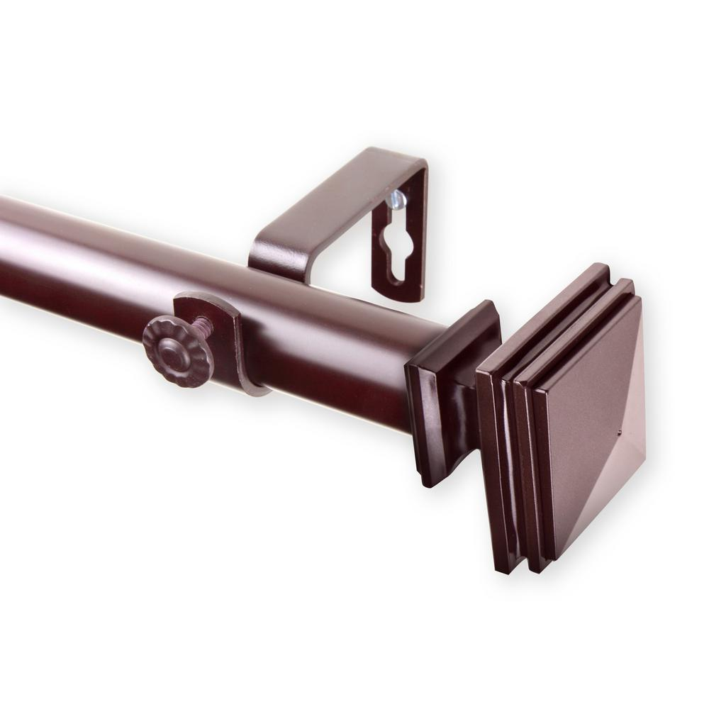Rod Desyne Bedpost 28 in. - 48 in. Single Curtain Rod in Mahogany
