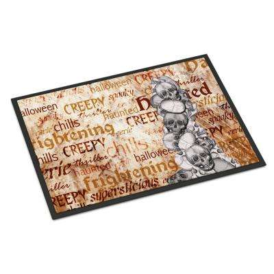 18 in. x 27 in. Indoor/Outdoor Creepy, Haunted and Frightful with Skulls Halloween Door Mat