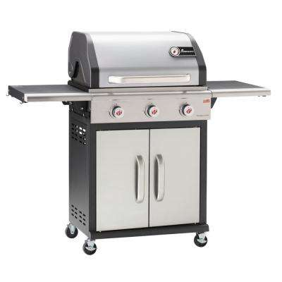 3-Burner Precision Chef Propane Grill in Stainless Steel and Black