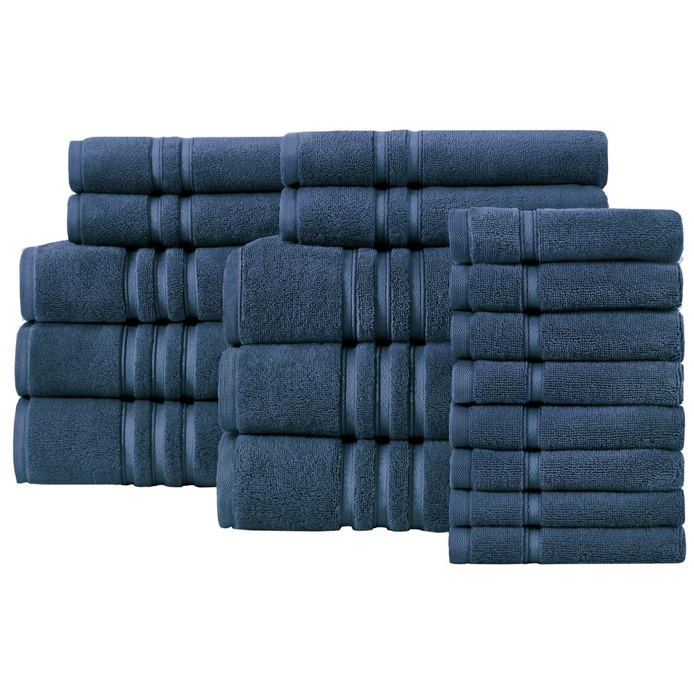 HomeDecoratorsCollection Home Decorators Collection Turkish Cotton Ultra Soft 18-Piece Towel Set in Navy, Blue