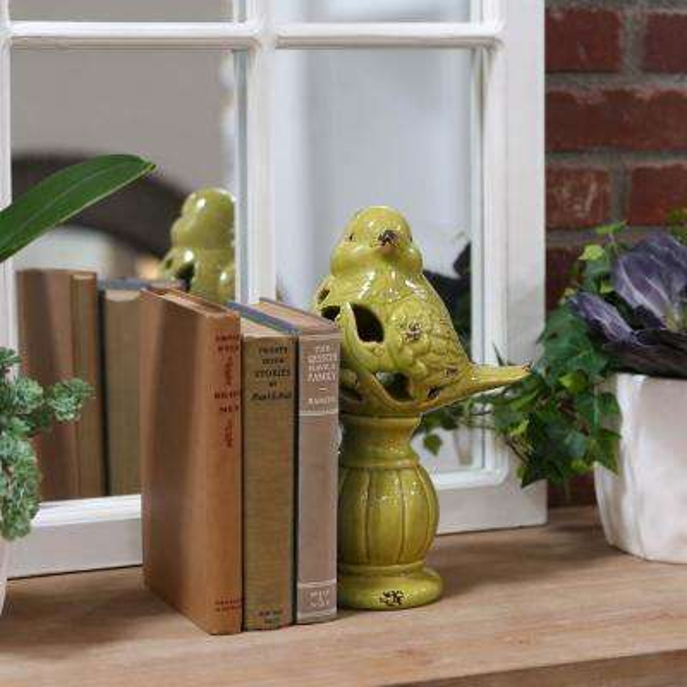 11.25 in. H Bird Decorative Figurine in Green Gloss Finish