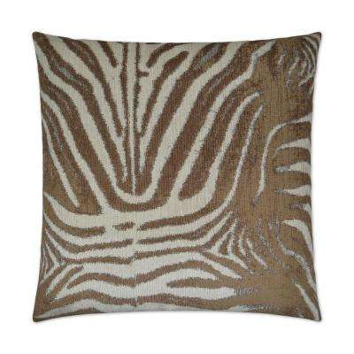 Zebrana Tan Feather Down 24 in. x 24 in. Decorative Throw Pillow