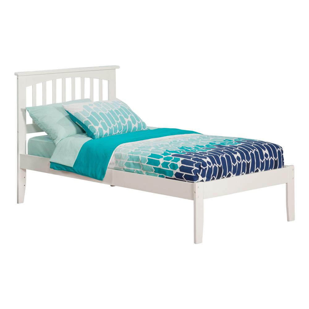 Mission White Twin Xl Platform Bed With Open Foot Board