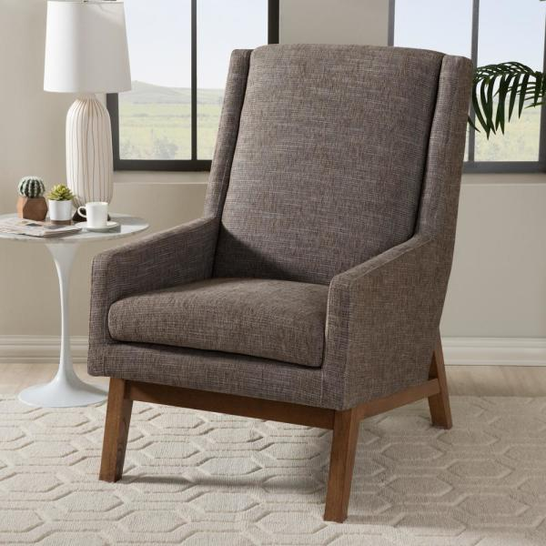 Baxton Studio Aberdeen Gray Fabric Upholstered Accent Chair 28862-7144-HD